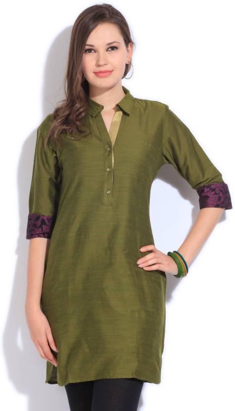 fa60a9565db Vishudh Women s Solid A-line Kurta - Buy OLIVE Vishudh Women s Solid ...