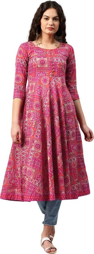 Libas Printed Women's Anarkali Kurta  (Multicolor)