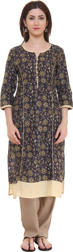Gulmohar Jaipur Floral Print Women's Straight Kurta