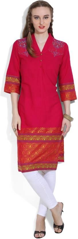 0be6caf3e20b Aurelia Women Resham Embroidery Straight Kurta - Buy RASPBERRY ...