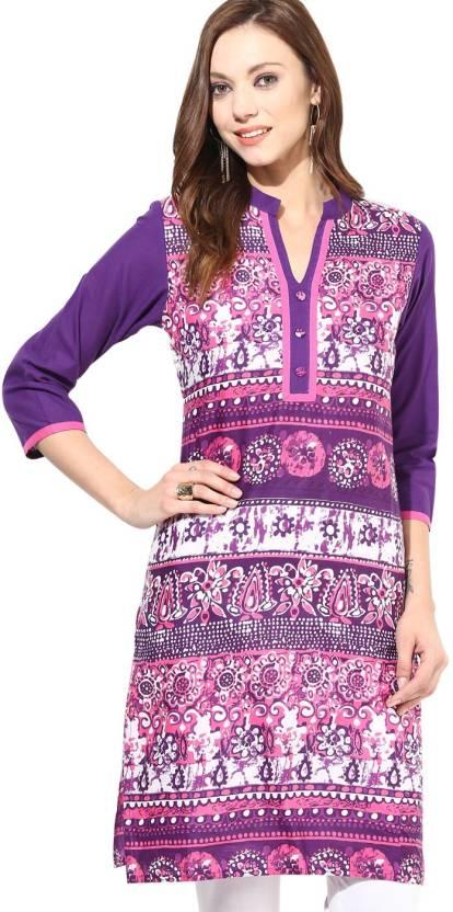 Jaipur Kurti Casual Printed Women's Kurti - Buy Pink and ...