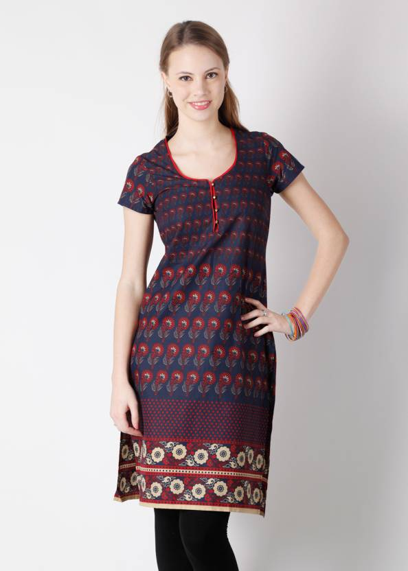 e4b5f8493fd Vishudh Women s Printed Straight Kurta - Buy Navy Blue