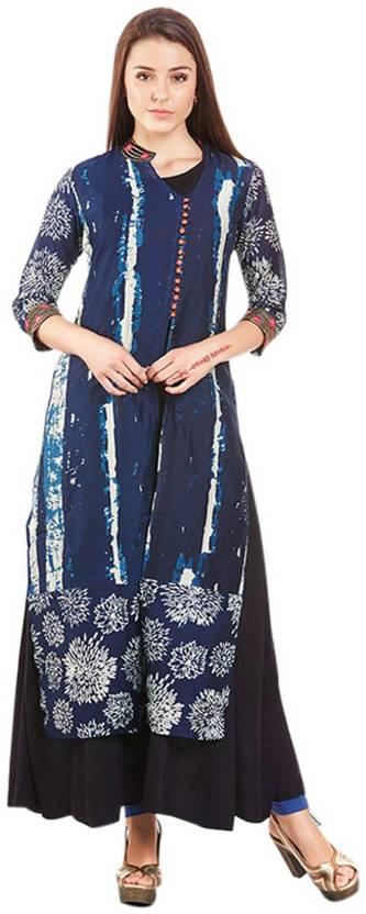 Neerus Festive & Party Printed Women's Kurti - Buy Navy Blue