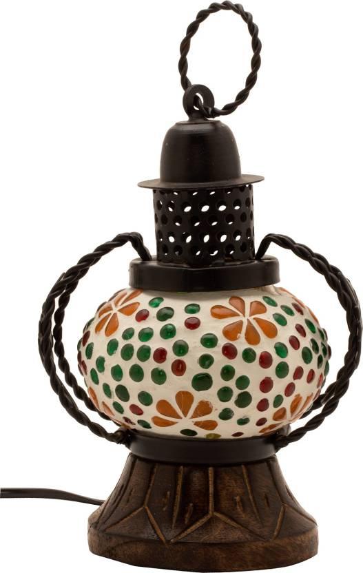 EShopping Portal Multicolor Glass Table Lantern 14 cm X 19 cm, Pack of 1