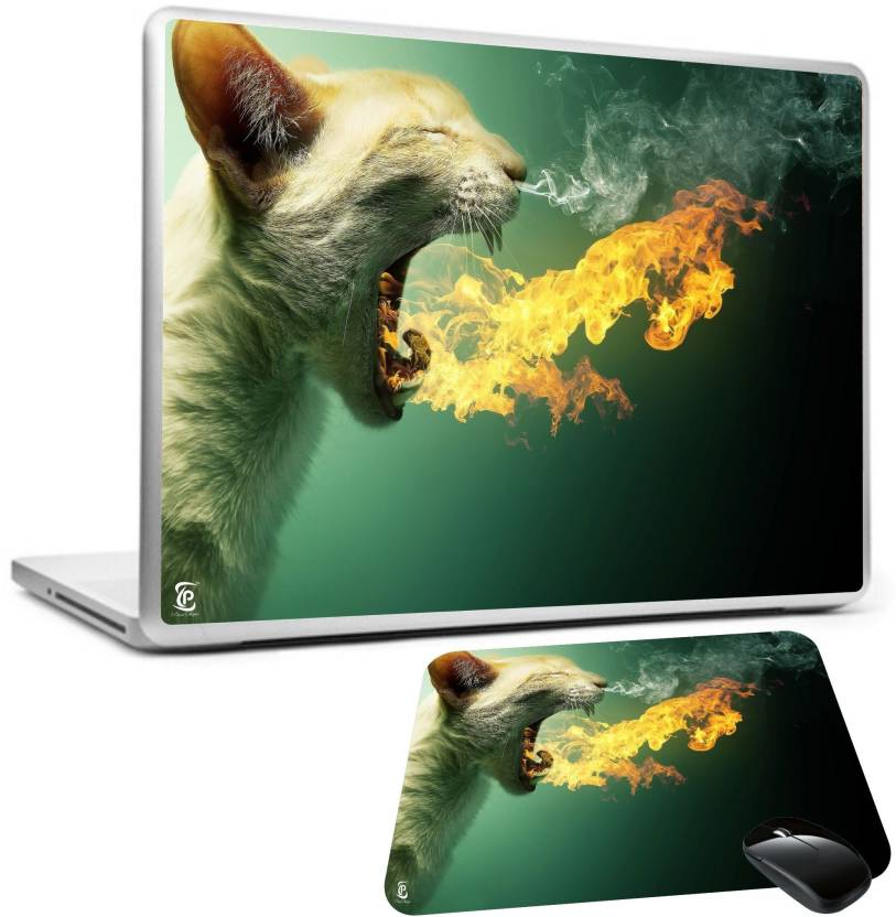 PRINT SHAPES cat blowing fire flames Laptop skin with mouse pad Combo Set