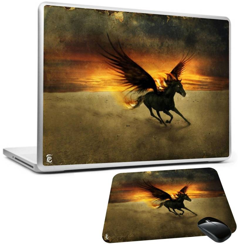 PRINT SHAPES Black fantasy horse Laptop skin with mouse pad Combo Set