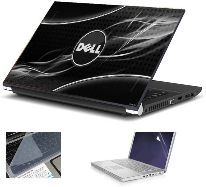 Geek Black Dell Rays HQ 3in1 LAPTOP SKIN WITH LAPTOP SCREEN GUARD and KEY  GUARD 15 6 IN Combo Set