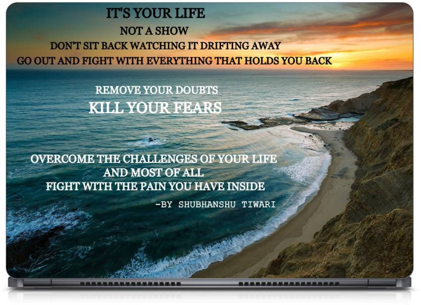 Aarjoo Beach Background Your Life Quotes Vinyl Laptop Decal 15 6