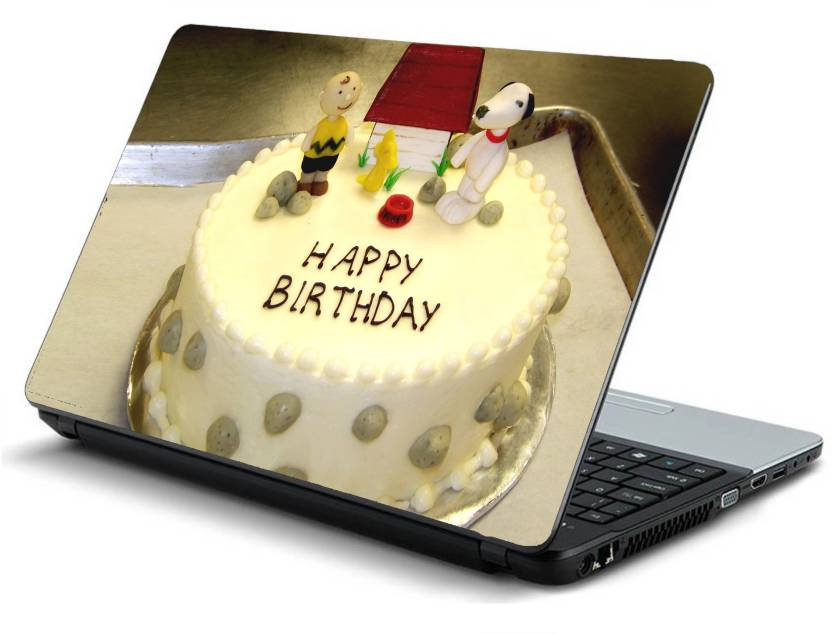 Print Shapes Happy Birthday Cake Laminated Vinyl Laptop Decal 156 Price In India