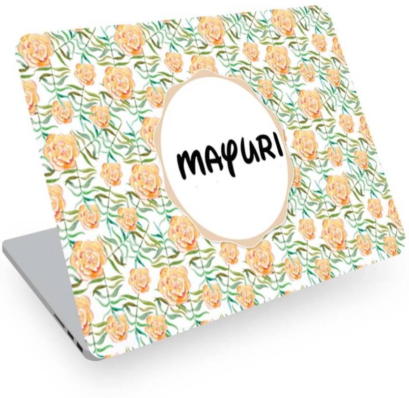 Posterchacha Mayuri Name Floral Design Laptop Skin Vinyl Laptop