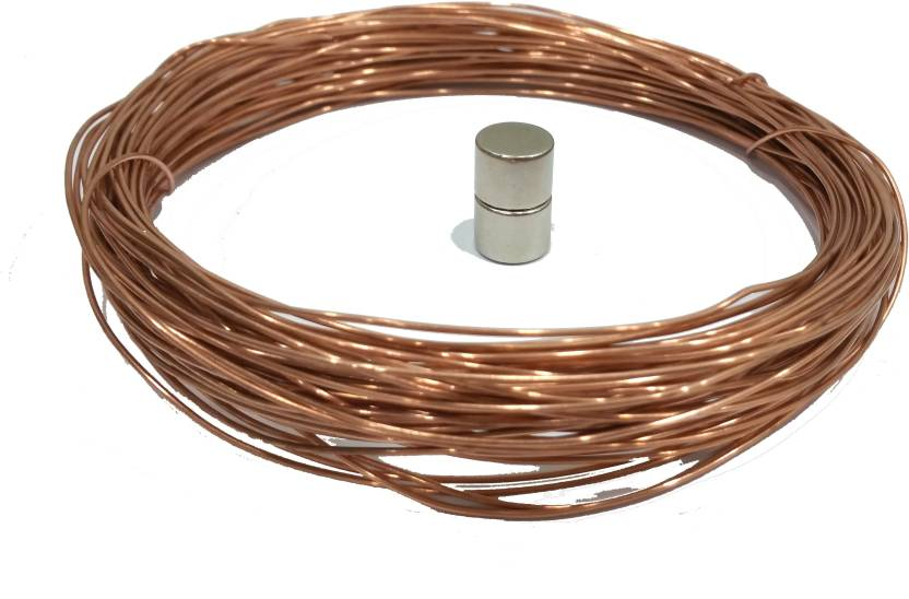 Techtone Magnetics Copper wire 20 meter with 2pcs 13mm diameter magnets for  electric train project