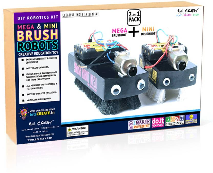Be Cre8v Mega & Mini Brush Robot KIT 2-in-1 Pack