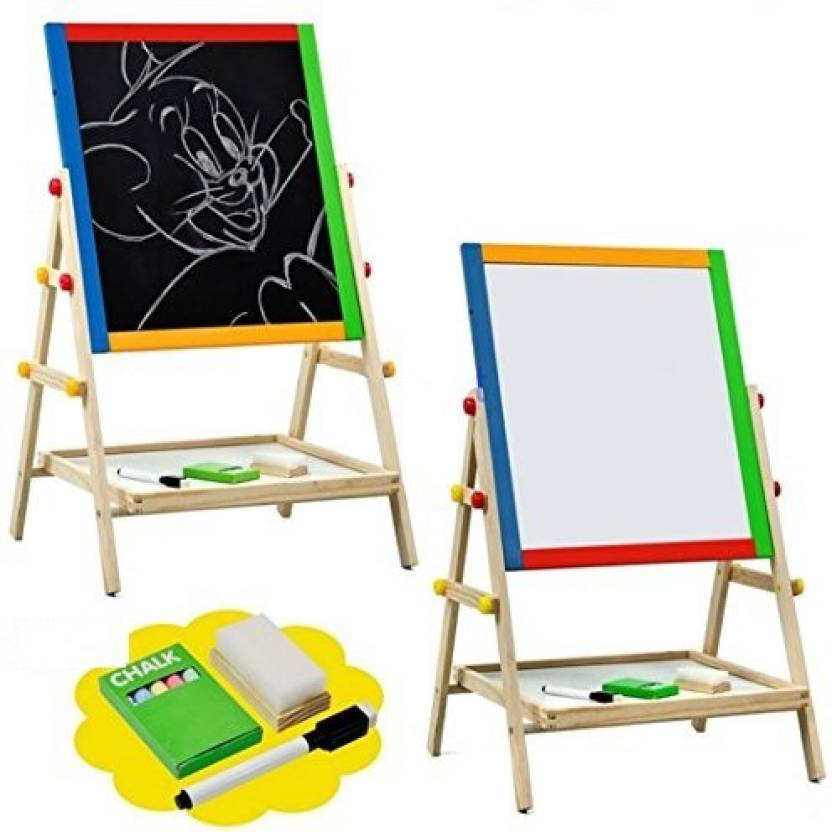 pigloo double sided children s magnetic wooden easel with adjustable