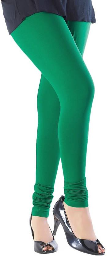 Magrace Legging Green, Solid Magrace Women's Leggings and Churidars