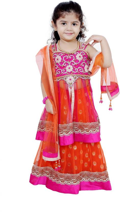 f938f38a4 For Kids Girls Lehenga Choli Ethnic Wear Embroidered Lehenga, Choli and  Dupatta Set Price in India - Buy For Kids Girls Lehenga Choli Ethnic Wear  ...