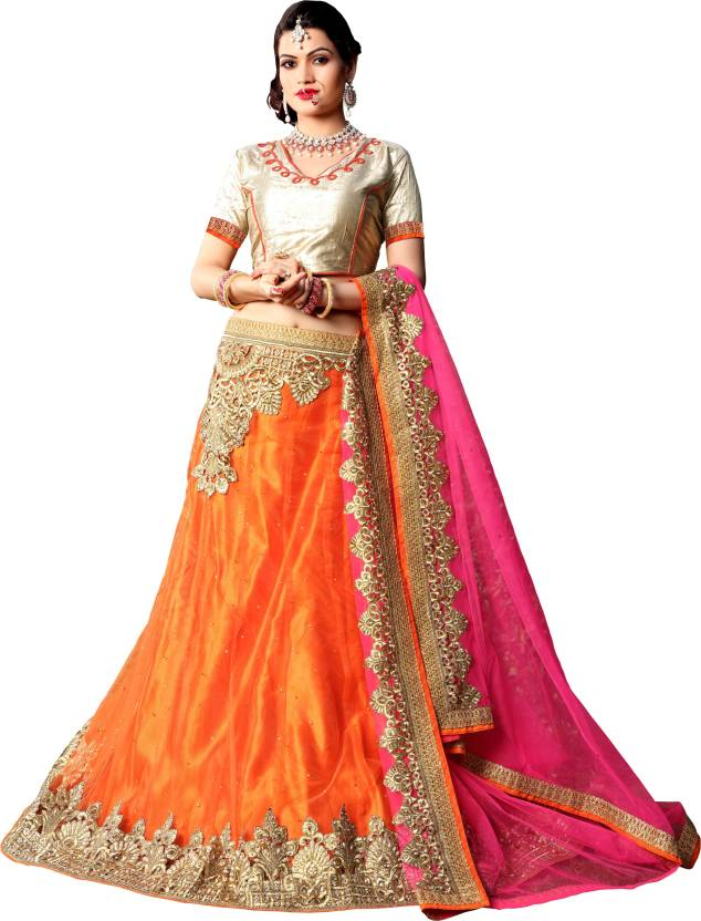 Aasvaa Embroidered Women's Lehenga, Choli and Dupatta Set