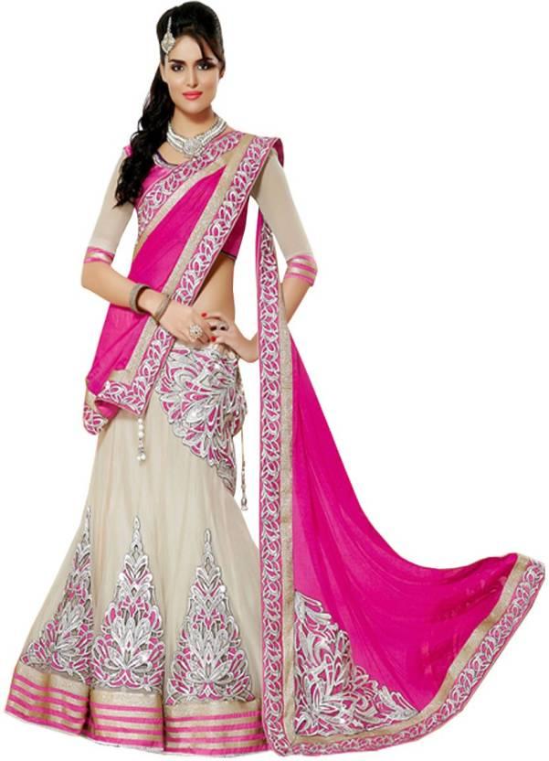 f44e3c2e06 SareeBazaar Embroidered Lehenga Saree Georgette, Net, Chiffon, Jacquard  Saree (Pink)