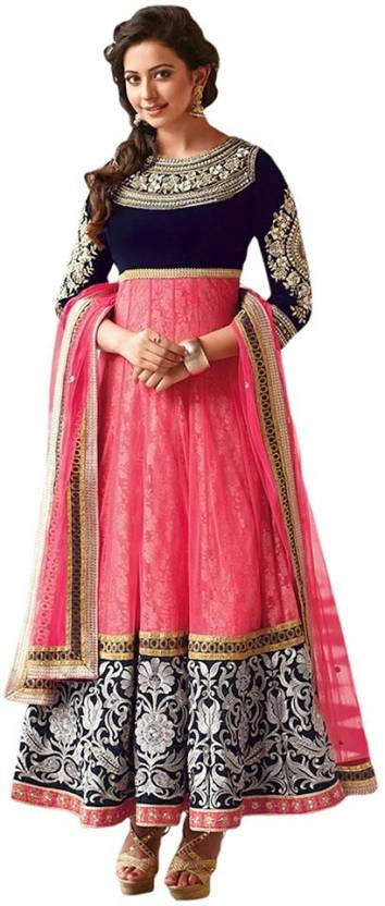 Fashionstyle1 Georgette Embroidered Semi-stitched Salwar Suit Dupatta Material
