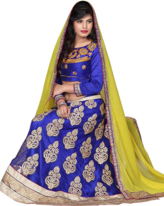 9f6adf0c70 Ethnic For You Embroidered Lehenga Choli - Buy Blue Ethnic For You ...
