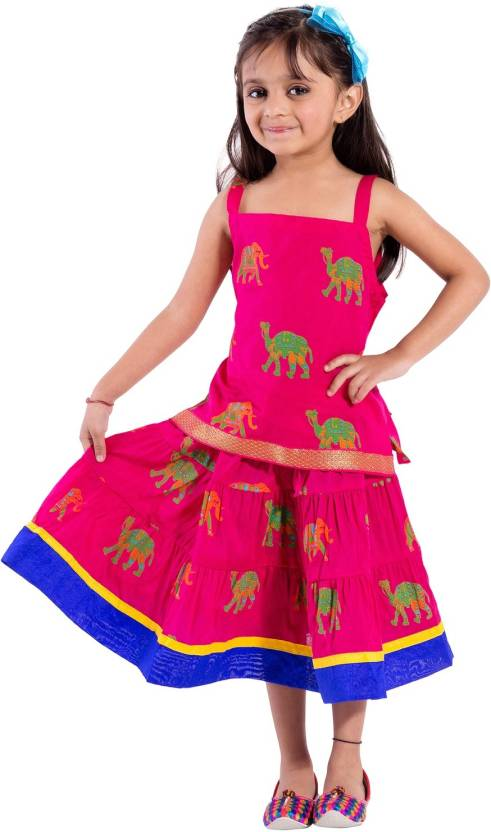 39493785e27d Magnus Girls Lehenga Choli Ethnic Wear Animal Print Ghagra Choli ...