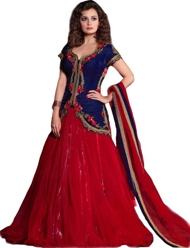a9386a0a27 Isha Enterprise Embroidered Lehenga, Choli and Dupatta Set - Buy Red ...
