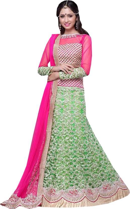 71773e3725 Greenvilla Designs Embroidered Lehenga, Choli and Dupatta Set (Light Green)