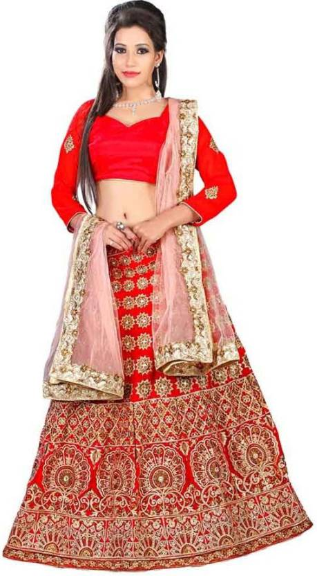 001dc6861 Chamunda Enterprise Embroidered Lehenga Choli - Buy Red Chamunda ...