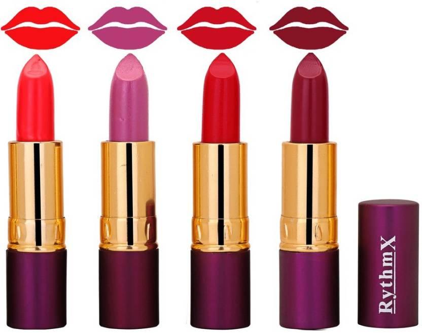Rythmx Birght Red Glowing Purple Rose Dark Pink Shades Lipstick Combo 5106 Multicolor