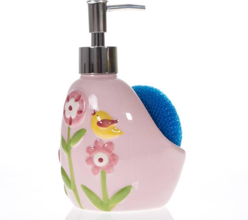 Smile2u Retailers ceramic floral print 1 L Soap, Lotion, Shampoo Dispenser