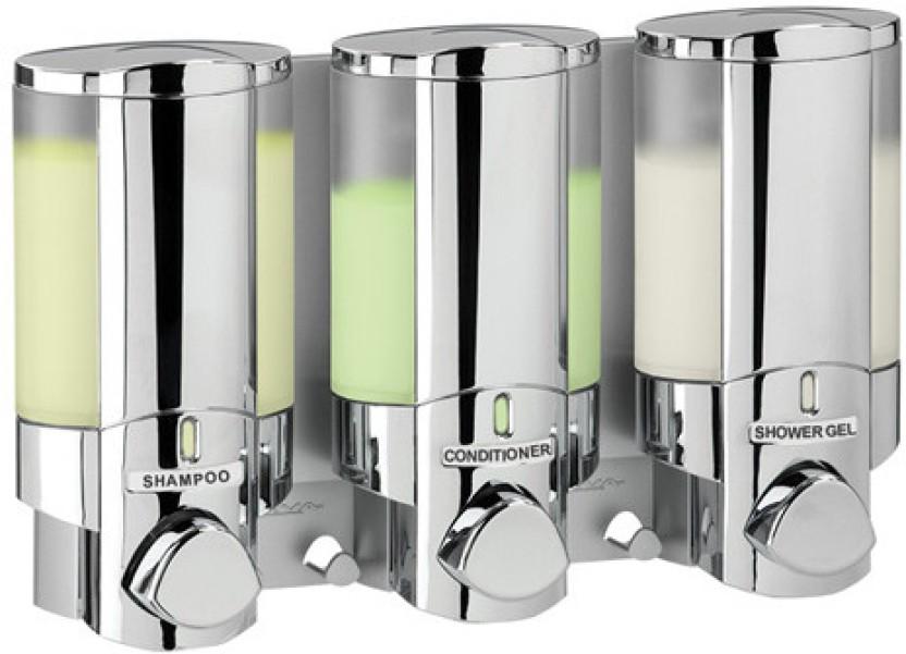 Better Living Aviva Chrome Triple Chamber 325 Ml Shampoo, Soap, Conditioner  Dispenser