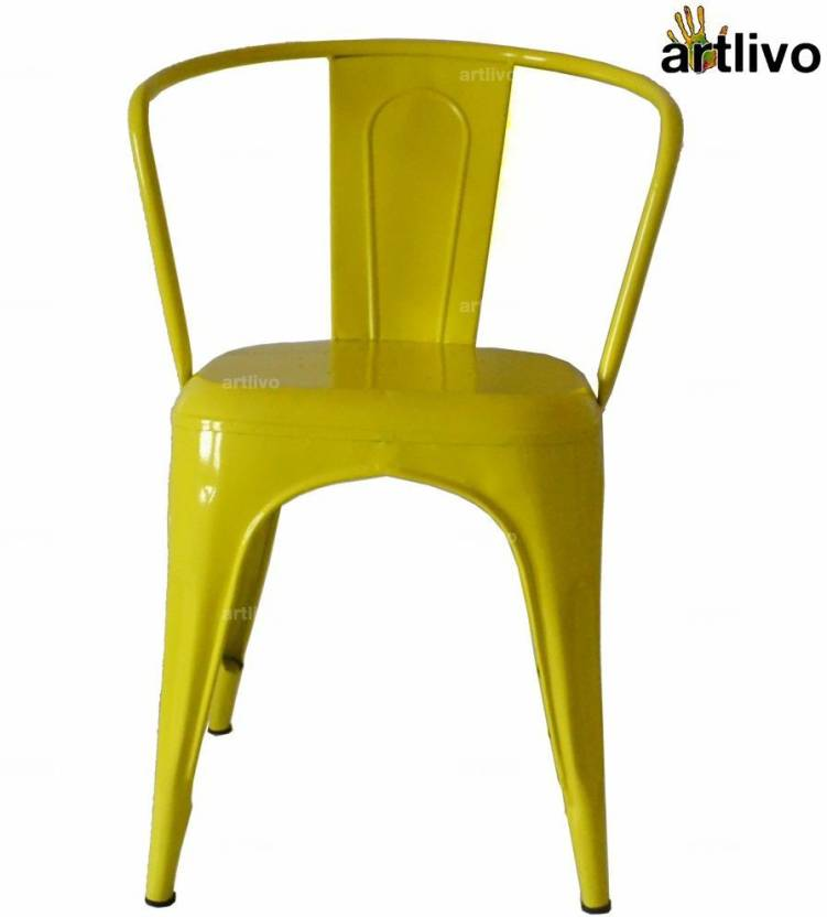 Artlivo Artlivo Yellow French Style Bistro Arm Chair Metal Living Room Chair Finish Color   Yellow