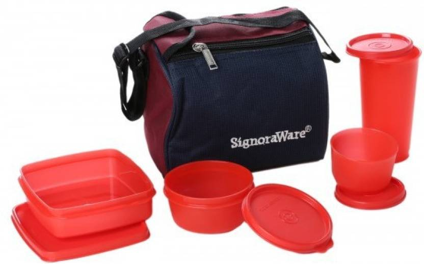 Signoraware Best   Red 4 Containers Lunch Box 980 ml
