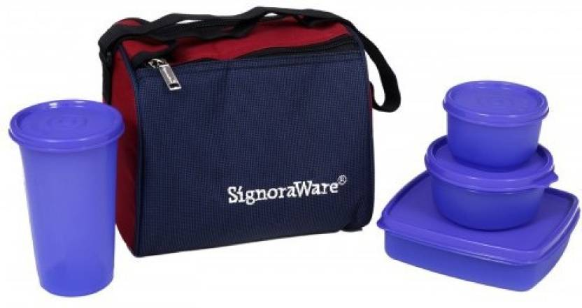 Signoraware Best   Violet  980ml  4 Containers Lunch Box 980 ml