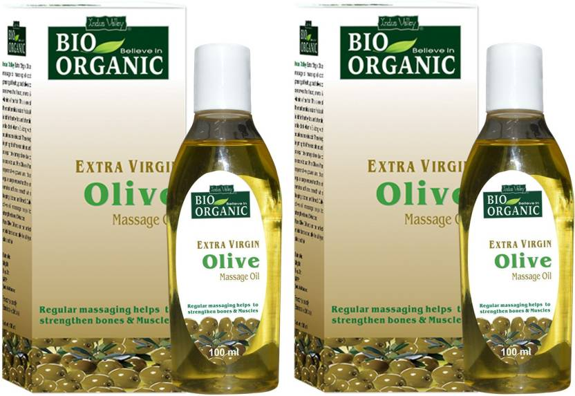 Indus Valley BIO Organic Extra Virgin Olive Massage Oil - Twin Pack