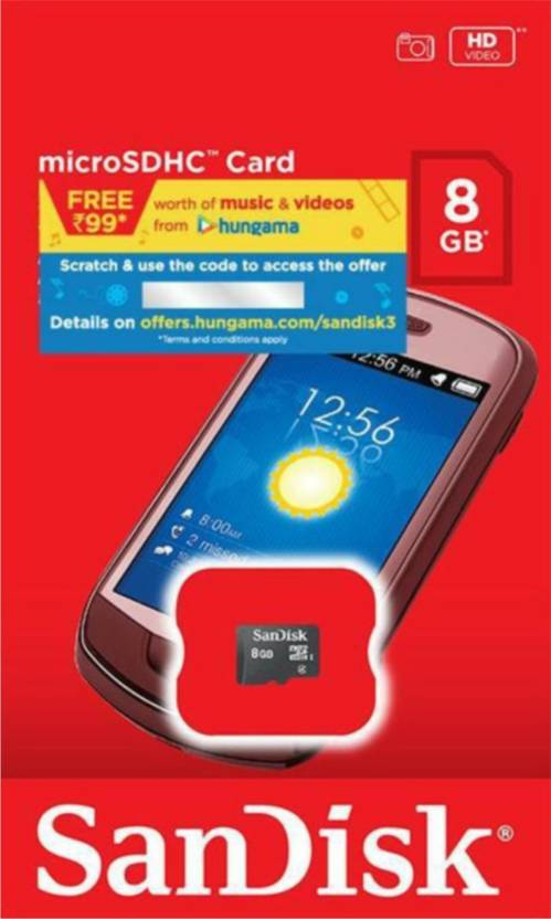 Sandisk Micro SD 8  GB MicroSDHC Class 4 15 MB/s Memory Card available at Flipkart for Rs.259