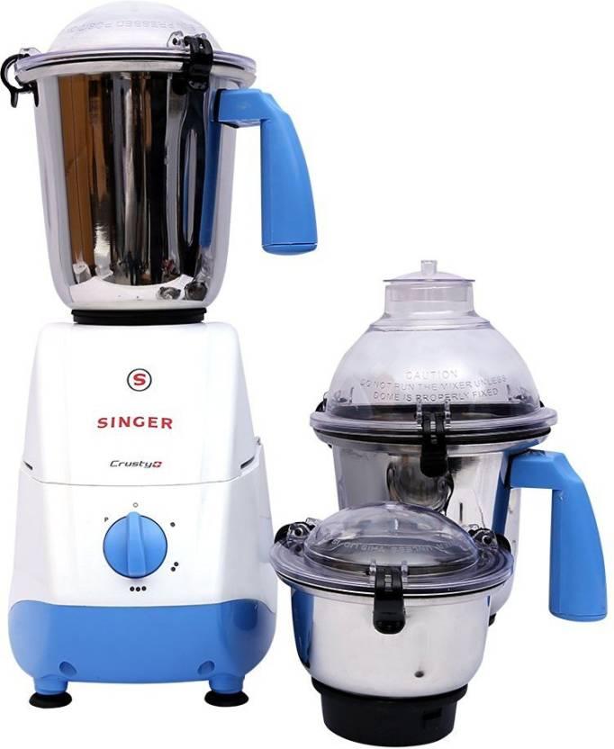 40-55% Off On Juicers & Mixer Grinders By Flipkart | Singer Crusty Plus 600 W Mixer Grinder  (Blue, White, 3 Jars) @ Rs.2,099