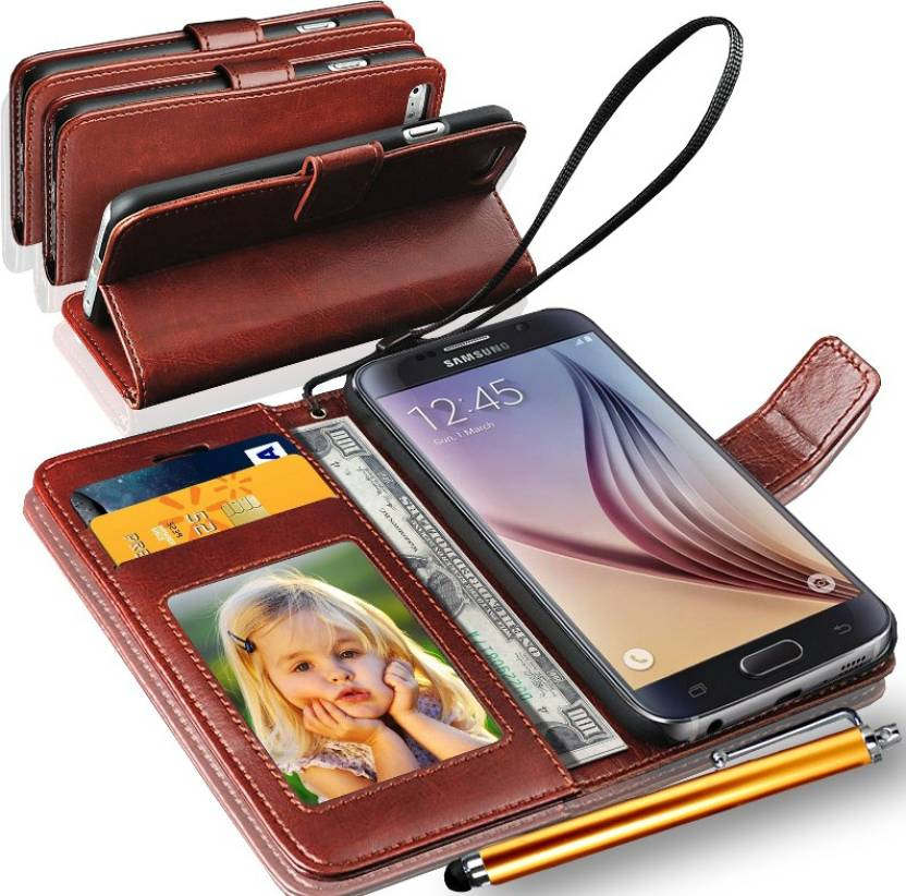 the latest 695e5 00985 GBOS Samsung Galaxy S6 EDGE Plus Wallet Case With Stylus Pen Brown  Accessory Combo