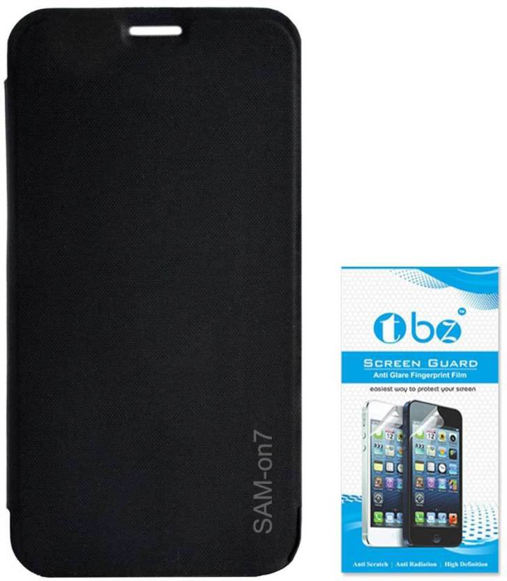 the latest 480c6 678e1 TBZ Flip Cover Case for Samsung Galaxy on7 with Screen Guard -Black ...