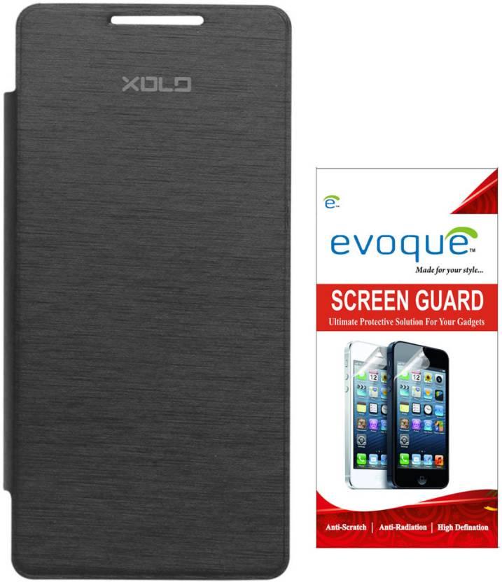 the best attitude f6e44 c445b Evoque Flip Cover For XOLO A500S Lite + Screen Guard Accessory Combo ...