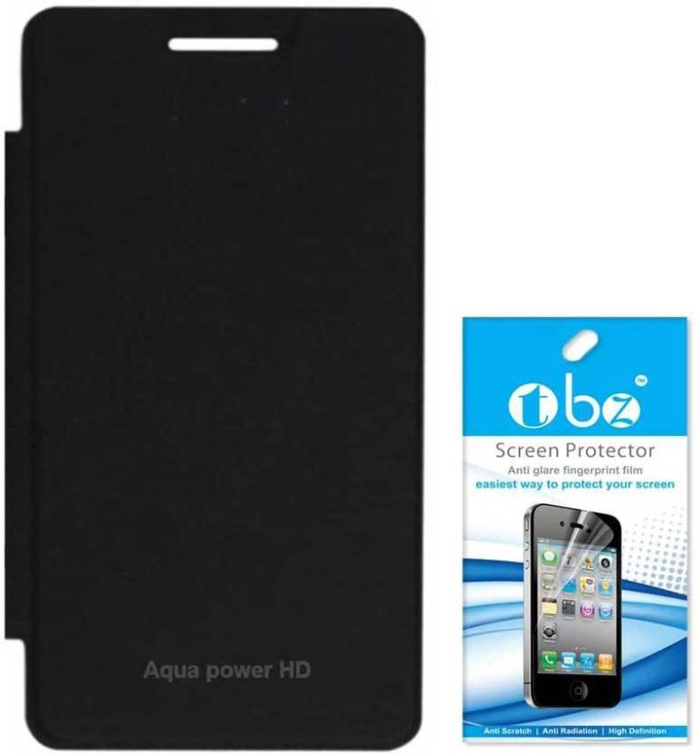 buy popular e7ba1 f23a0 TBZ Flip Cover Case for Intex Aqua Power HD with Screen Guard ...