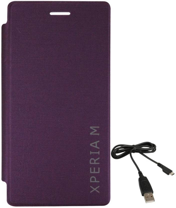 new style 58e64 aceab DMG Durable PU Leather Flip Cover Case for Sony Xperia M (Purple ...