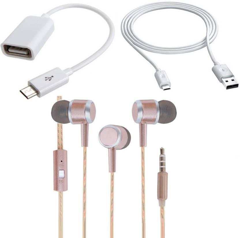fb017cd2e0f Hillgrove Headset Accessory Combo for Redmi Note 4 (White, Transparent,  Gold)