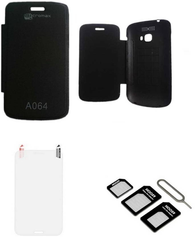 outlet store 386cb 0bd0d iEi Flip Cover For Micromax Bolt A064 WITH SCREEN GUARD & MICRO/NANO ...