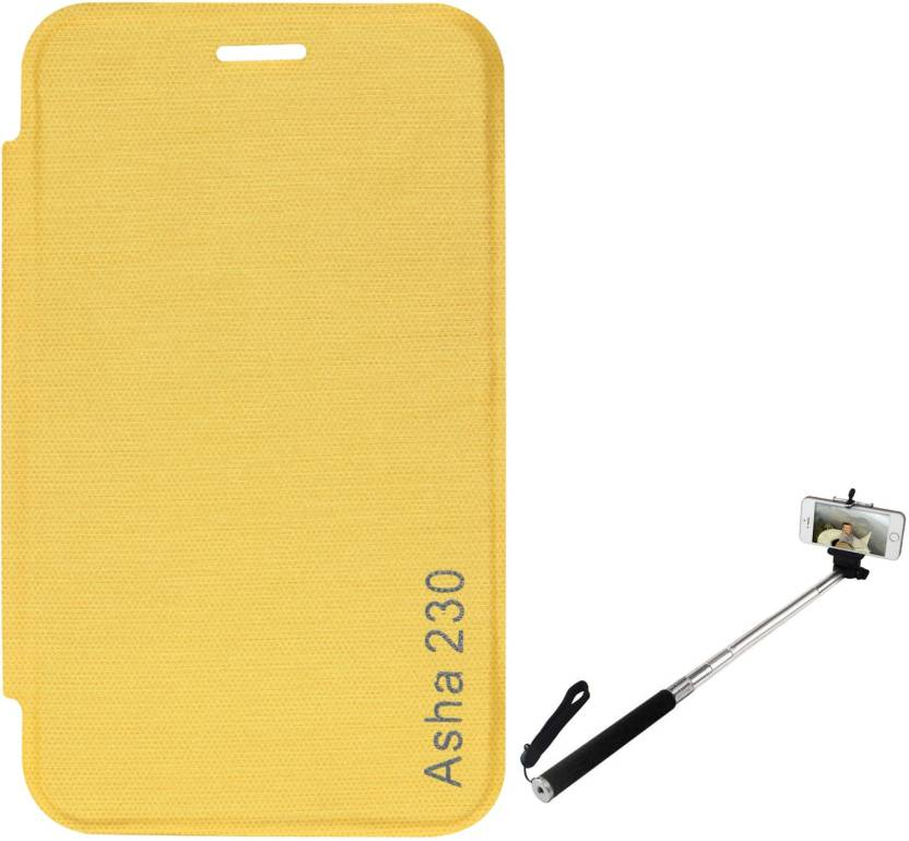 new style 1b453 79ea3 DMG Durable PU Leather Flip Cover Case For Nokia Asha 230 (Yellow ...