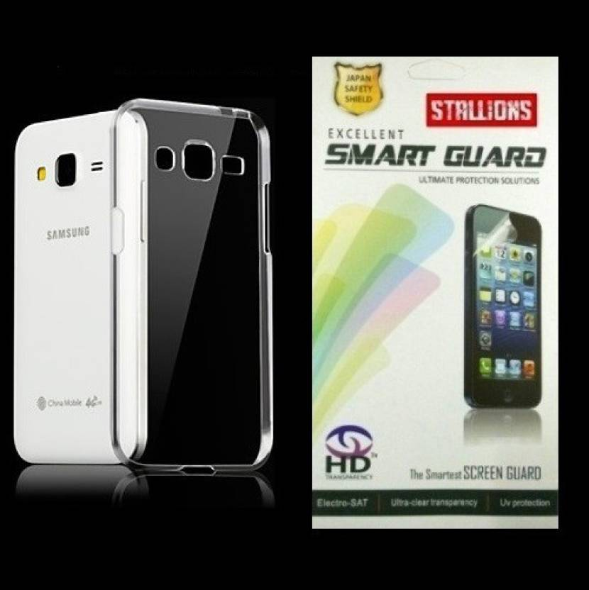 new product a6bc9 8b645 Stallions Samsung Galaxy J2 Transparent Back Cover and Screen Guard ...