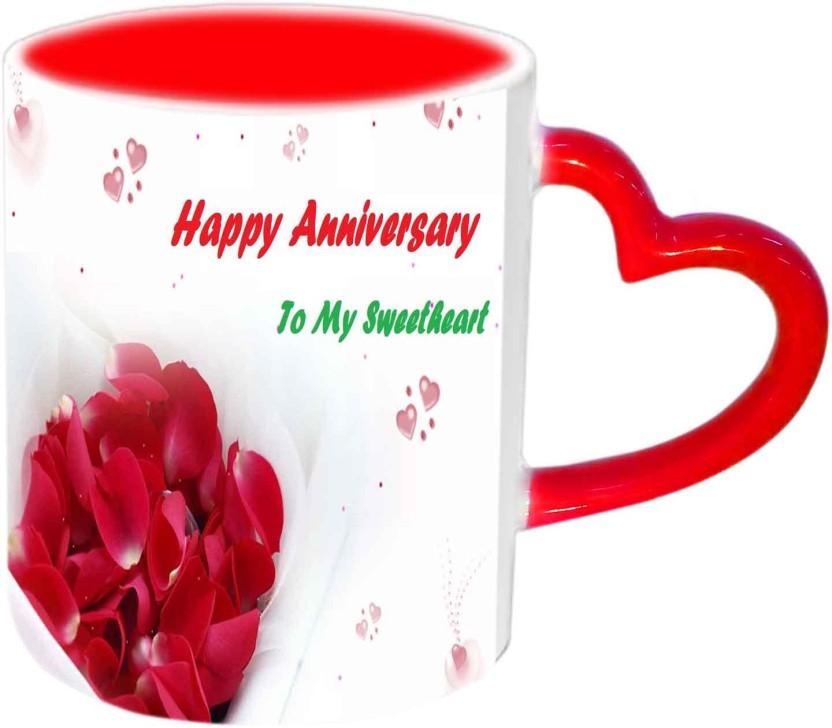 Raj Laxmi Happy Anniversary My Sweetheart Red Heart Handle Ceramic Mug