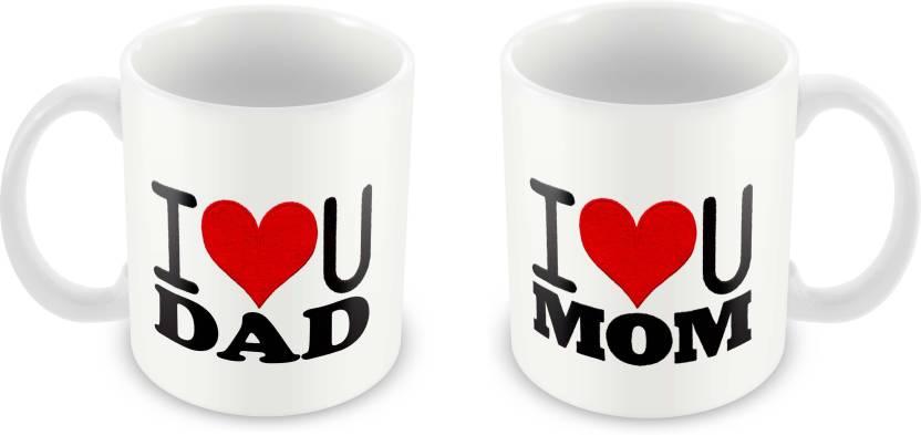 Tuelip Beautiful Printed I Luv U Mom Dad For Tea And Coffee 350 Ml