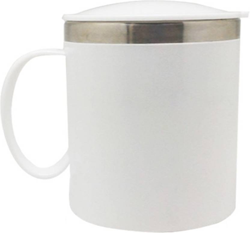302f05acaa6 Tuelip Coffee Tea Water Travel Cup with Sipper Lid 400 ml (White) Stainless  Steel Mug (400 ml)