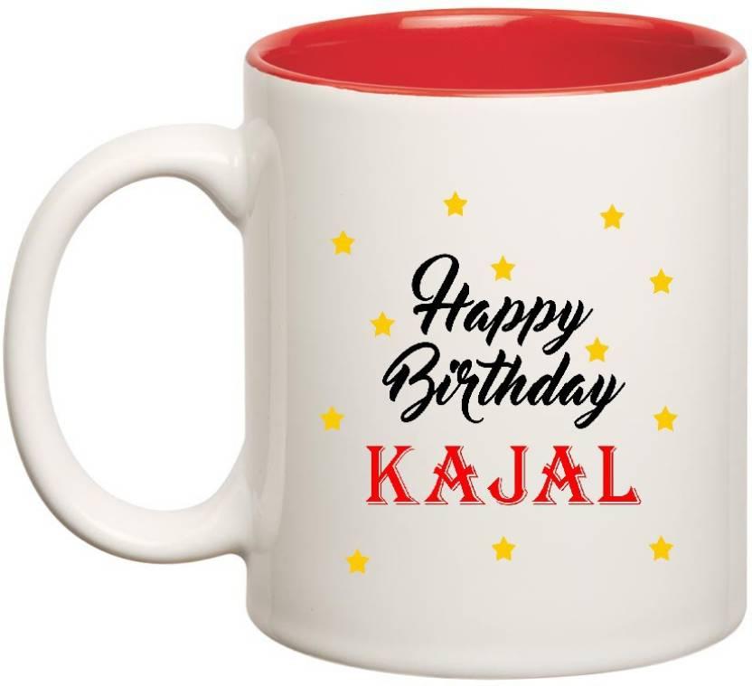 Huppmegift Happy Birthday Kajal Inner Red Ceramic 350ml Ceramic