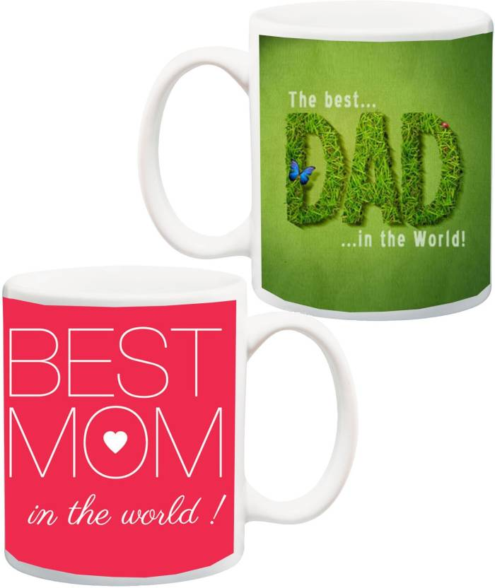 MEYOU Gift For Parents Father Mother Daddy Mummy Dad On Anniversary Or BirthdayBest And Mom In The World Printed Ceramic Mug 325 Ml Pack Of 2